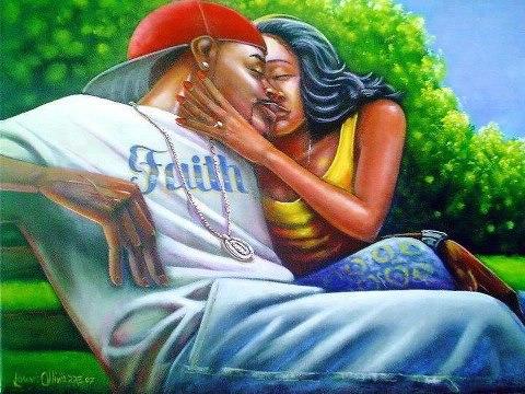 Black Couple Love Art