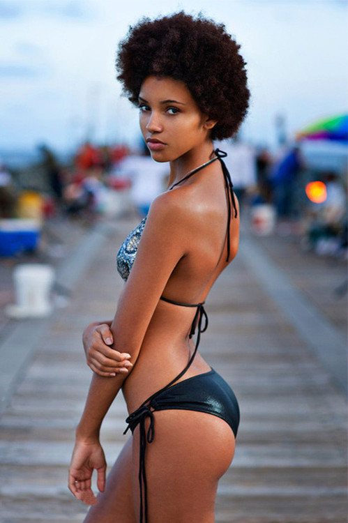 Beautiful black girl bikini frankly, you