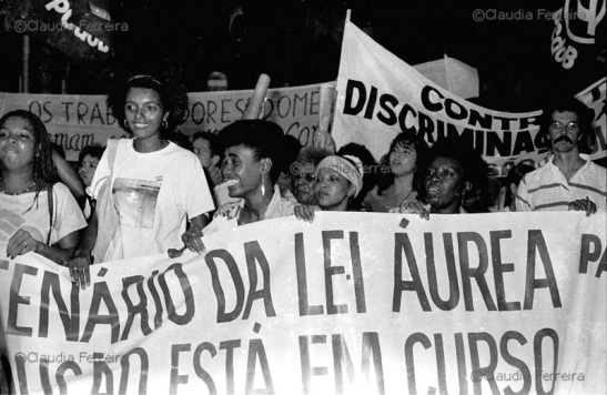 Black women in rally during International Women's Day on March 8, 1988