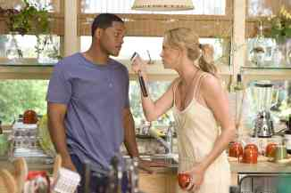 When Hancock (Will Smith, left), saves the life of a PR exec, he tries to return the favor by cleaning up the disgruntled superhero's public image, despite the fact that his wife, Mary (Charlize Theron, right) thinks that Hancock is a lost cause in Columbia Pictures' Hancock.  The film is directed by Peter Berg.  The screenplay is by Vy Vincent Ngo and Vince Gilligan.  The film is produced by Akiva Goldsman, Michael Mann, Will Smith, and James Lassiter.  Hancock is set for release July 2, 2008.